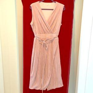Rachel Roy V Neck shimmery nude faux wrap dress